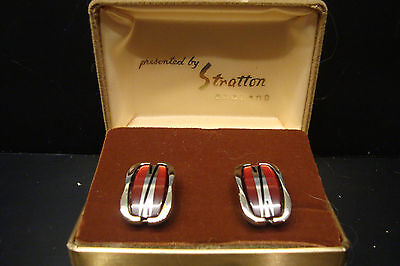 Original Retro Vintage Stratton Gents Mens Cufflinks Presentation Box Red Black