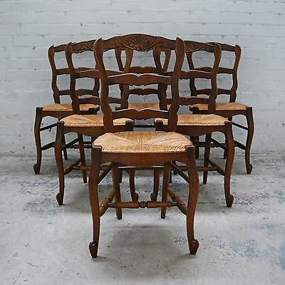 6 x French Louis style decorative oak rush seated dining chairs with carving