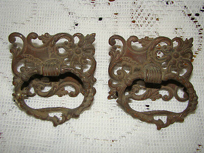 Pair of Antique Vintage Ornate Victorian Brass Drawer Pulls Knobs Handles