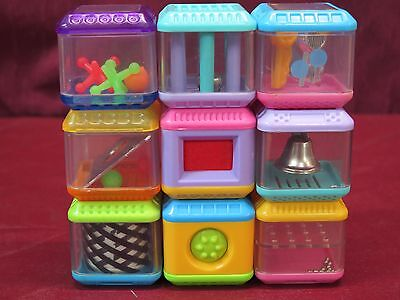Fisher-Price Peek A Blocks Lot of 9 Misc.Textures Designs Bell Jacks...
