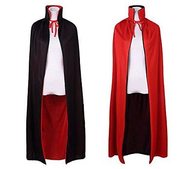 "55"" Stand Collar Reversible Cloak Masquerade Cape Costume, Black and Red"