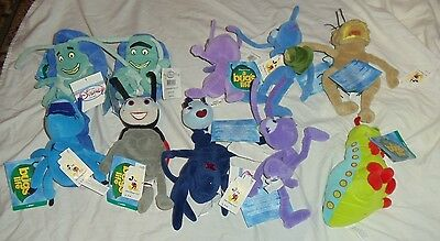"""NWT DISNEY A BUG'S LIFE BEAN BAGS LOT of 10 and Exlc. 20""""x16"""" Poster"""