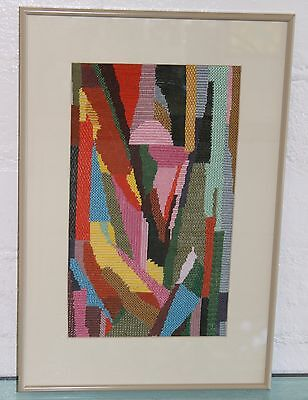 MOD Vintage Mid Century Modern GEOMETRIC ABSTRACT Modernist Needlepoint WALL ART