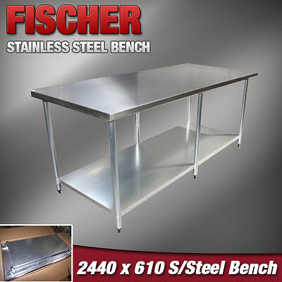2440mm x 610mm NEW STAINLESS STEEL #430 GRADE KITCHEN BENCH -CATERING WORK TABLE