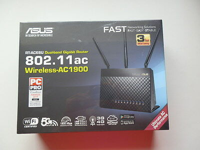 New Sealed Asus Rt-Ac68U 802.11Ac Wireless Ac1900 Dual Band Gigabit Router