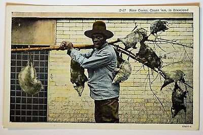 1929 Nine Coons, Count 'em, in Dixieland Asheville North Carolina Postcard