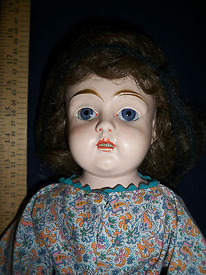 Tin head JUNO  doll BIG glass sleep eyes