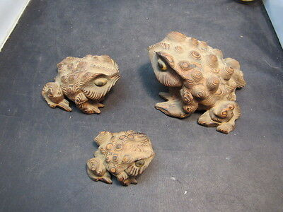 Vintage Japenese Hand Carved Wood Frog Cryptomeria Horny Toad