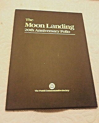 THE MOON LANDING 20th ANNIVERSARY FOLIO.POSTAL COMMEMORATIVE SOCIETY.STAMPS