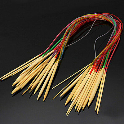New Multicolor 18 pcs Set 80CM Smooth Bamboo Circular Knitting Needles Pins GT