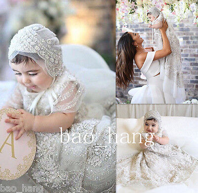 Rhinestones Baby Baptism Christening Gowns Crystals First Communion Dress Bonnet