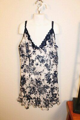 ADORABLE NAVY AND WHITE STRETCHY LACE NIGHTIE by SECRET TREASURES SIZE MEDIUM