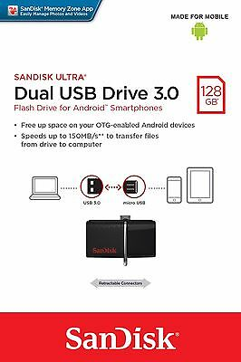 SanDisk Ultra 128GB Dual USB Drive 3.0 OTG Micro Flash Drive Memory for Android