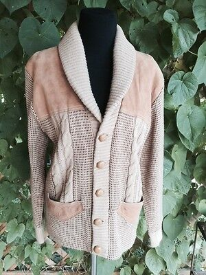 Vtg Men's Cable Knit Sweater Cardigan Leather Suede Trim Rockabilly M Medium