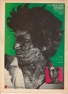 ROLLING STONES - Tattoo You Vintage AD 1981 FRAMED. Keith Richards