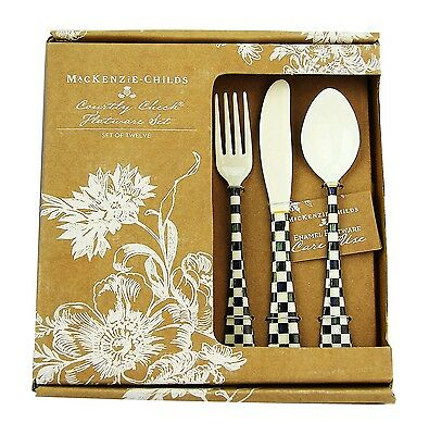 Mackenzie Childs 12 Piece Courtly Check Enameled Flatware Service Band New Box