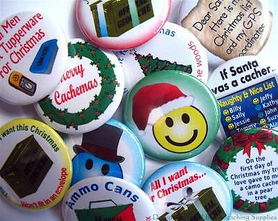 Christmas Geocaching Button Set - 12 Designs