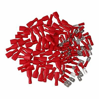 100Pcs Insulated Spade Electrical Wiring Terminal Connectors Male & Female Red