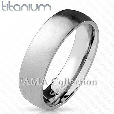 FAMA Solid Titanium Classic Dome Wedding Ring with Brushed Finish Size 5-13