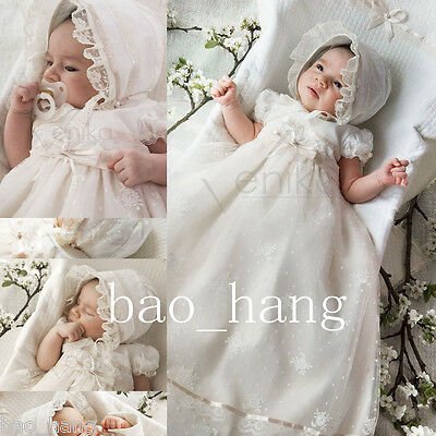Custom Baby Long Robe Baptism Dresses White Ivory Christening Gowns With Bonnet