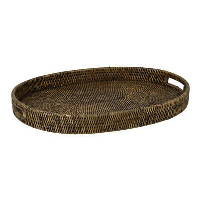 Natural Rattan Large Oval Shape Tea Coffee Serving Dinning Tray (45 x 60 cm)