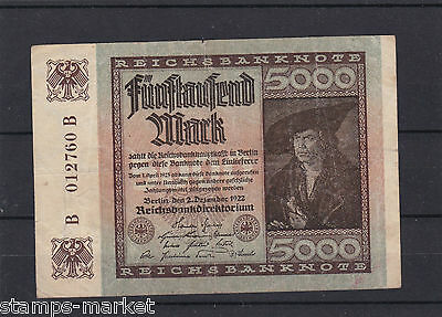 Germany , Five Thousand Mark Bank Note 1922 .ref 1145