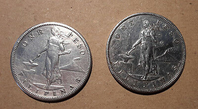 lot argent silver one peso filipinas 1903 et 1908