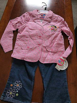 Brand New Dora the Explorer Blazer Jacket Top and Jeans Set Size 6