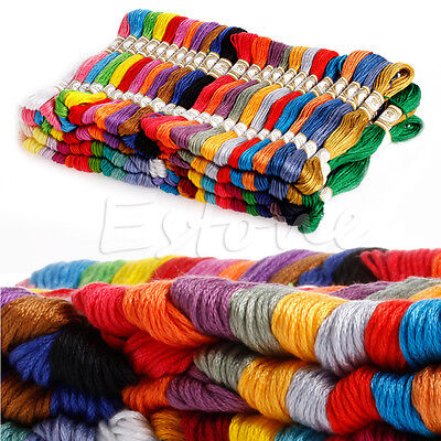 105 Mixed Colours Cross Stitch Cotton Embroidery Thread Sewing Skeins Floss Kit