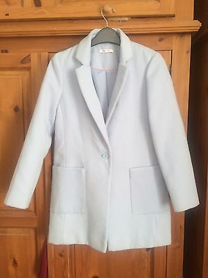 Stunning Girls Pale Ice Blue Smart Button Up Wool Coat Young Dimension 11-12yrs