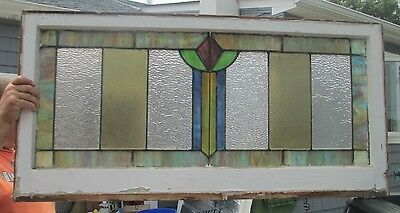 Antique Vintage Stained Glass Window  Privacy Glass Green And Blue #3