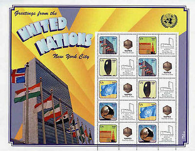 United Nations UN Personalized Sheet Stamp S31 Int'l Rate Napex Expo Version 2