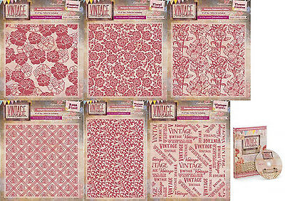 Crafters Companion - Vintage Floral Collection - Embossing Folders & DVD