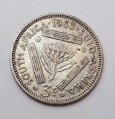 1953 - 3d / Three Pence - South Africa - Queen Elizabeth II - Coin