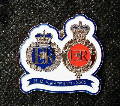 H M P MAZE 1971 - 2000 MALE & FEMALE OFFICERS HAT BADGES Pin badge