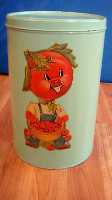 """Vintage National Can Round Covered Tin 12"""" x 7.75"""""""