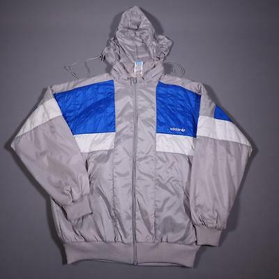 Mens ADIDAS Vintage Retro Hooded Shell Suit Tracksuit Top Jacket Large #C2157