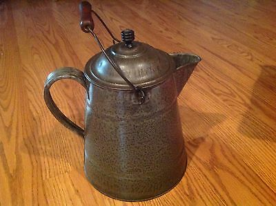 Antique L&g Mfg. Co. Agate Nickel Steel-Ware Coffee Pot