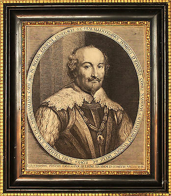 Antique 1630 Van Dyck Portrait Engraving 17th Century Stuart Period Framed Print