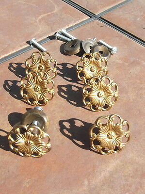 Set of 6 Antiqued Brass Filigree Door or Drawer Knobs