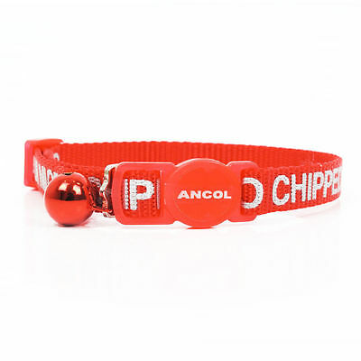Ancol I Am Microchipped Cat Alert Collar Safety Buckle RED + red bell