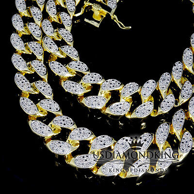 Miami Cuban Link Chain 14k Yellow Gold Finish Iced Out Lab Diamond Necklace 32""