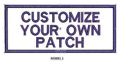 """LOGO CUSTOMIZED EMBROIDED  PATCH   4"""" X 2""""  text only"""
