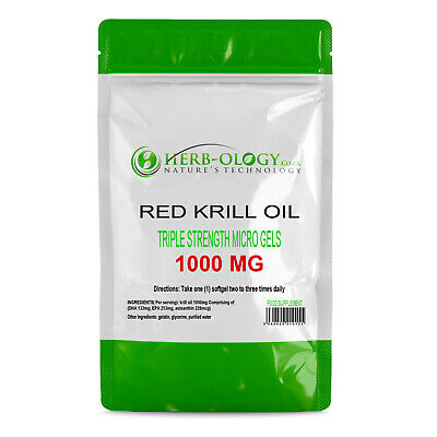 Krill Oil 1000 mg Micro Gels Triple Strength  30 - 360 Softgels Herb-ology