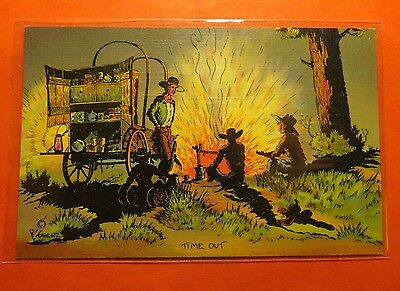 Time Out Typical Western scene Linen Vintage Postcard