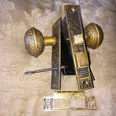 Victorian Eastlake Solid Bronze Complete Lockset, F.C.Linde Co. Design #3