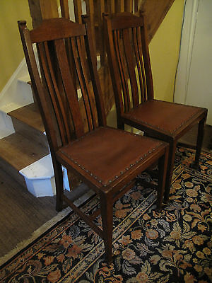 2 Antique Oak Dining Chairs   English Oak Dining / Hall /Bedroom Vintage Chairs