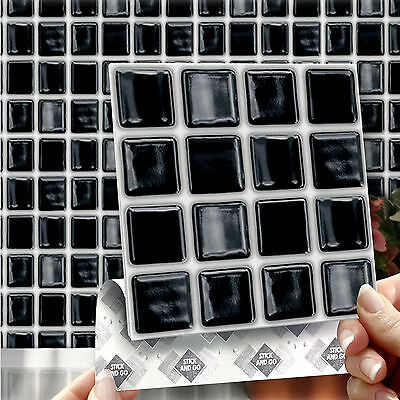 8 Stick & Go Black 'Mosaic' Stick On Wall Tiles For Kitchens or Bathrooms