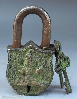 China's Tibet Buddhism bronze sculpture white tara big door lock, the key DECORA