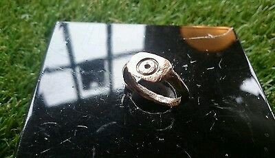 Roman Bronze professionaly cleaned evil eye ring found in York area 1970s